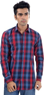 Scandal & Senses Plus Men's Checkered Casual Blue, Red Shirt