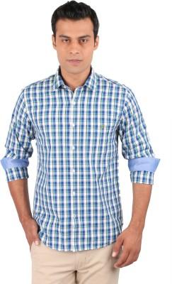 J Hampstead Men's Checkered Casual Blue Shirt