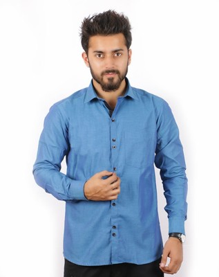 Indian Threads Men's Solid Formal Blue Shirt