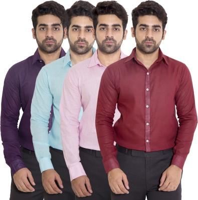 deekshavastra Men's Solid Casual Maroon Shirt