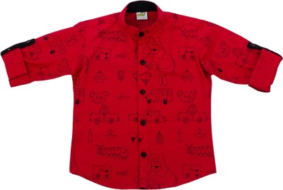 Little Stars Boy's Printed Formal Red Shirt