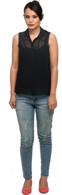 Attire By Kapsons Women's Solid Casual Black Shirt