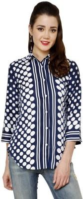 Aardee Women's Printed Casual Dark Blue Shirt