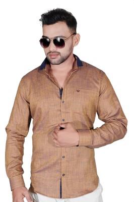 Fabrobe Men's Solid Casual Brown Shirt