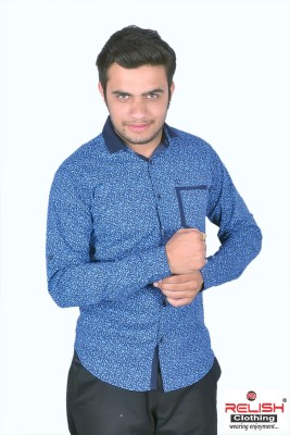 Relish Men's Printed Casual Blue Shirt