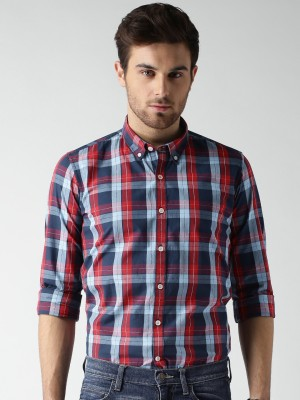 Mast & Harbour Men's Checkered Casual Red Shirt