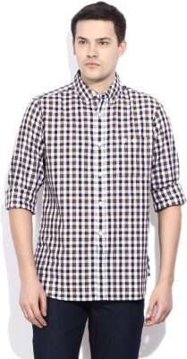 French Connection Mens Checkered Casual Black Shirt