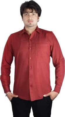 Kartier Men's Solid Casual Maroon Shirt