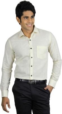 Nexq Men's Solid Formal Linen Yellow Shirt