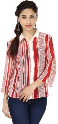 M&F Women's Printed Casual Red Shirt