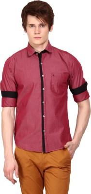 I-Voc Men,s Solid Casual Maroon, Black Shirt