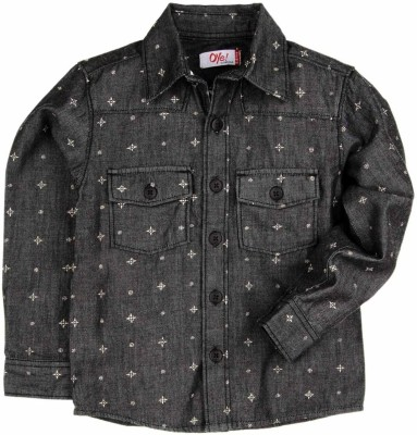 Oye Boy's Printed Casual Denim Black Shirt