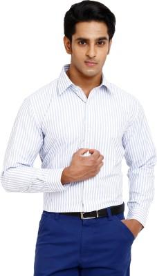 Zenrio Men's Striped Formal Blue Shirt