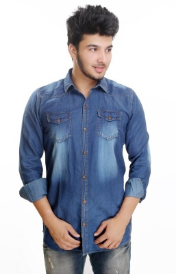 Camrick Men,s Solid Casual Denim Blue Shirt