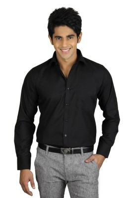 Nexq Men's Solid Formal Black Shirt