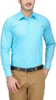 Willowy Formal Shirts (Men's) - WILLOWY Men's Solid Formal Blue Shirt