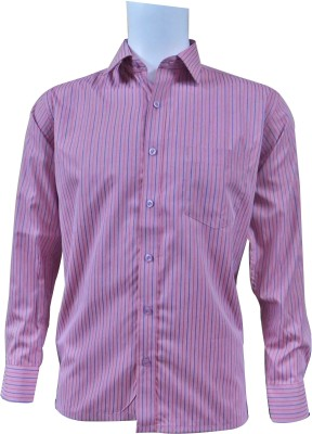 Ardeur Men's Striped Casual Pink Shirt