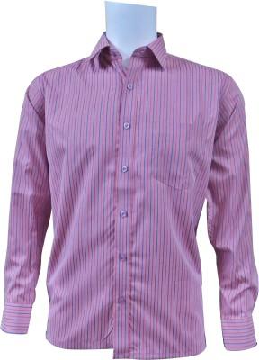 Ardeur Men's Striped Formal Pink Shirt
