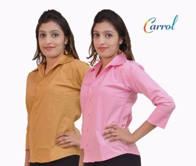 carrol Women,s, Girl's Solid Formal, Casual Reversible Pink, Brown Shirt