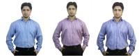 Kvm Formal Shirts (Men's) - KVM Men's Striped Formal Pink, Blue, Purple Shirt(Pack of 3)