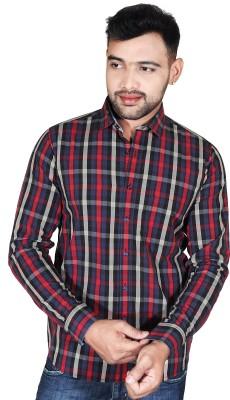 Fabrobe Men's Checkered Casual Red, Blue, Black Shirt