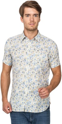 Derby Jeans Community Men's Printed Casual Blue Shirt