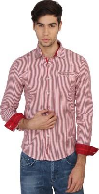 Calvin Klein Men's Striped Casual Red, White Shirt