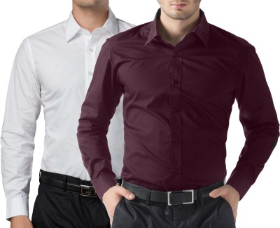 You Forever Men's Solid Casual White, Purple Shirt