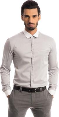Specimen Men's Solid Casual Grey Shirt