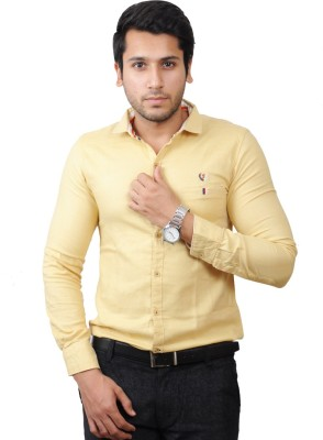 Flakes Fashion Men's Solid Casual Beige Shirt