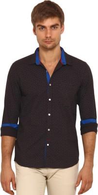 I-Voc Men,s Printed Casual Black, Blue Shirt