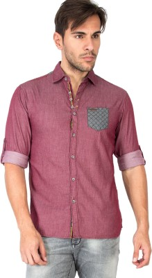 The Indian Garage Co. Men,s Solid Casual Maroon Shirt