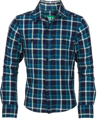 Slub Junior By Inmark Boy's Checkered Casual Green Shirt