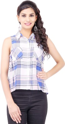 Pear Blossom Women's Checkered Casual White Shirt