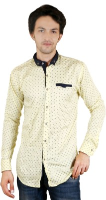Zrestha Men's Printed Casual Yellow Shirt