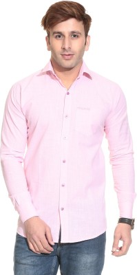 Stylistry Men's Solid Casual Pink Shirt