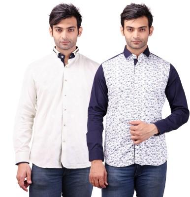 Clubstone Men's Self Design Formal White, Light Blue Shirt