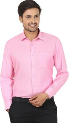 John Players Men's Solid Formal Pink Shirt