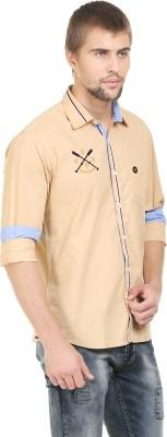BlackRooster Men's Solid Casual Brown Shirt
