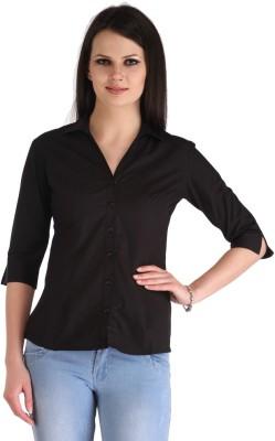 ZAIRE Women's Solid Casual Black Shirt