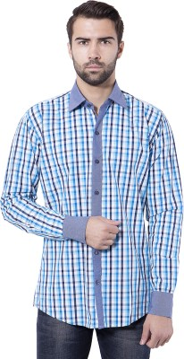 Tag & Trend Men's Checkered Casual Blue Shirt