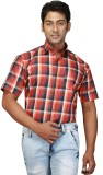 Relish Men's Checkered Formal Orange Shi...