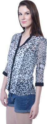 Florrie Fusion Women's Animal Print Casual Black Shirt