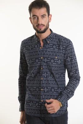 Kart & Kriss Men's Printed Casual Blue Shirt