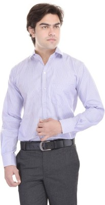 Cinchstore Men's Striped Formal Blue Shirt