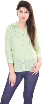 OVIYA Women,s Solid Casual Green Shirt