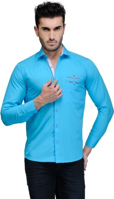 Finder Zone Men's Solid Casual Light Blue Shirt