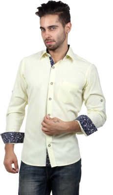 S9 Men's Solid, Woven, Printed Casual Yellow, Multicolor, Dark Blue Shirt
