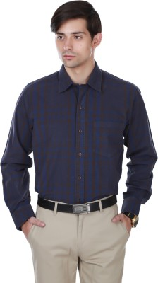 Cotton County Men's Checkered Formal Black Shirt