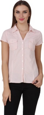 One Femme Women's Checkered Casual, Lounge Wear Pink Shirt